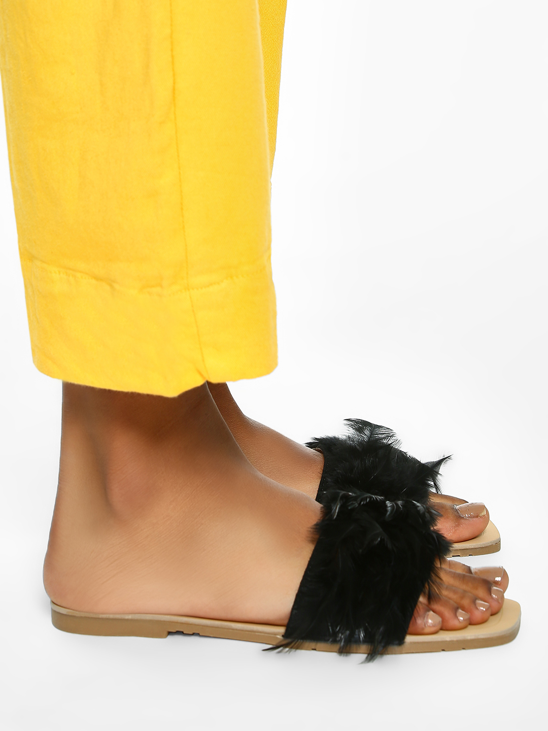 Sole Story Black Feather Strap Flat Sandals 1
