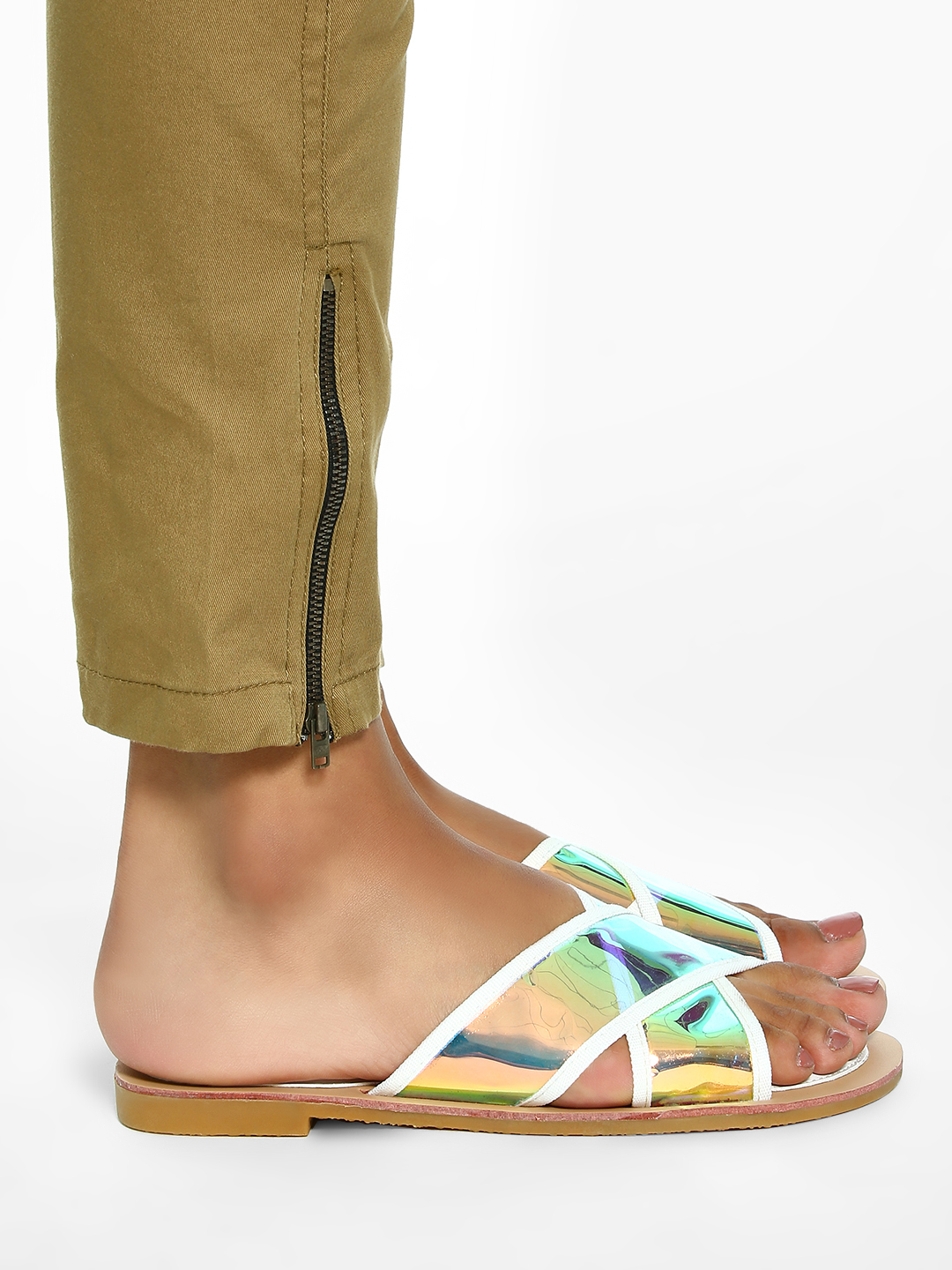 Sole Story White Holographic Cross Strap Flat Sandals 1