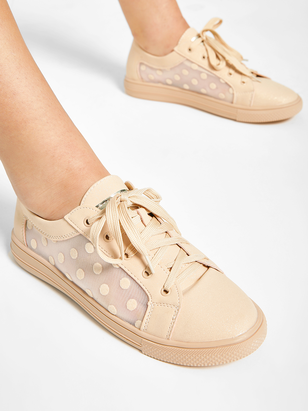 My Foot Couture Beige Polka Dot Mesh Panel Sneakers 1