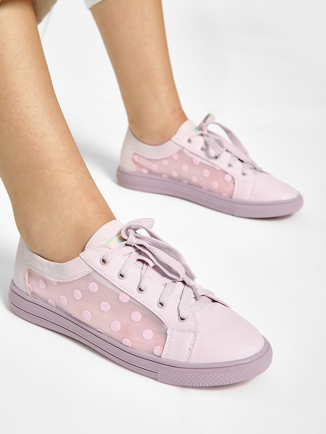 My Foot Couture Purple Polka Dot Mesh Panel Sneakers 1
