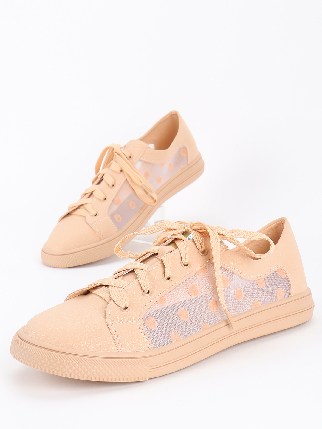 My Foot Couture Pink Polka Dot Mesh Panel Sneakers 1