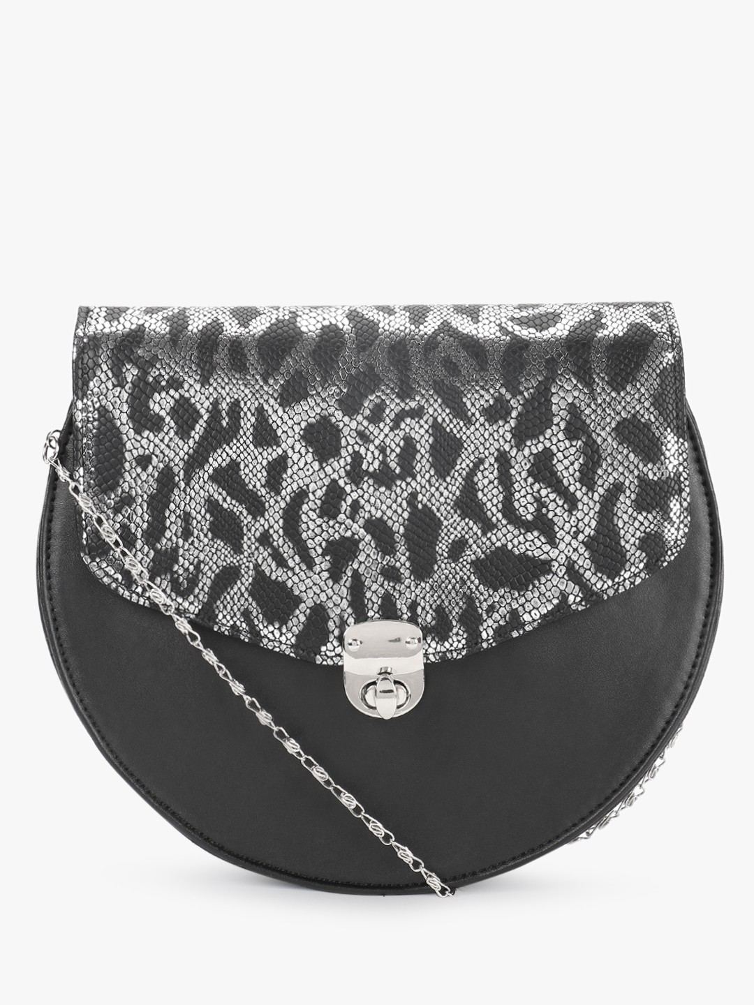 Gusto Black Snake Print Metallic Sling Bag 1