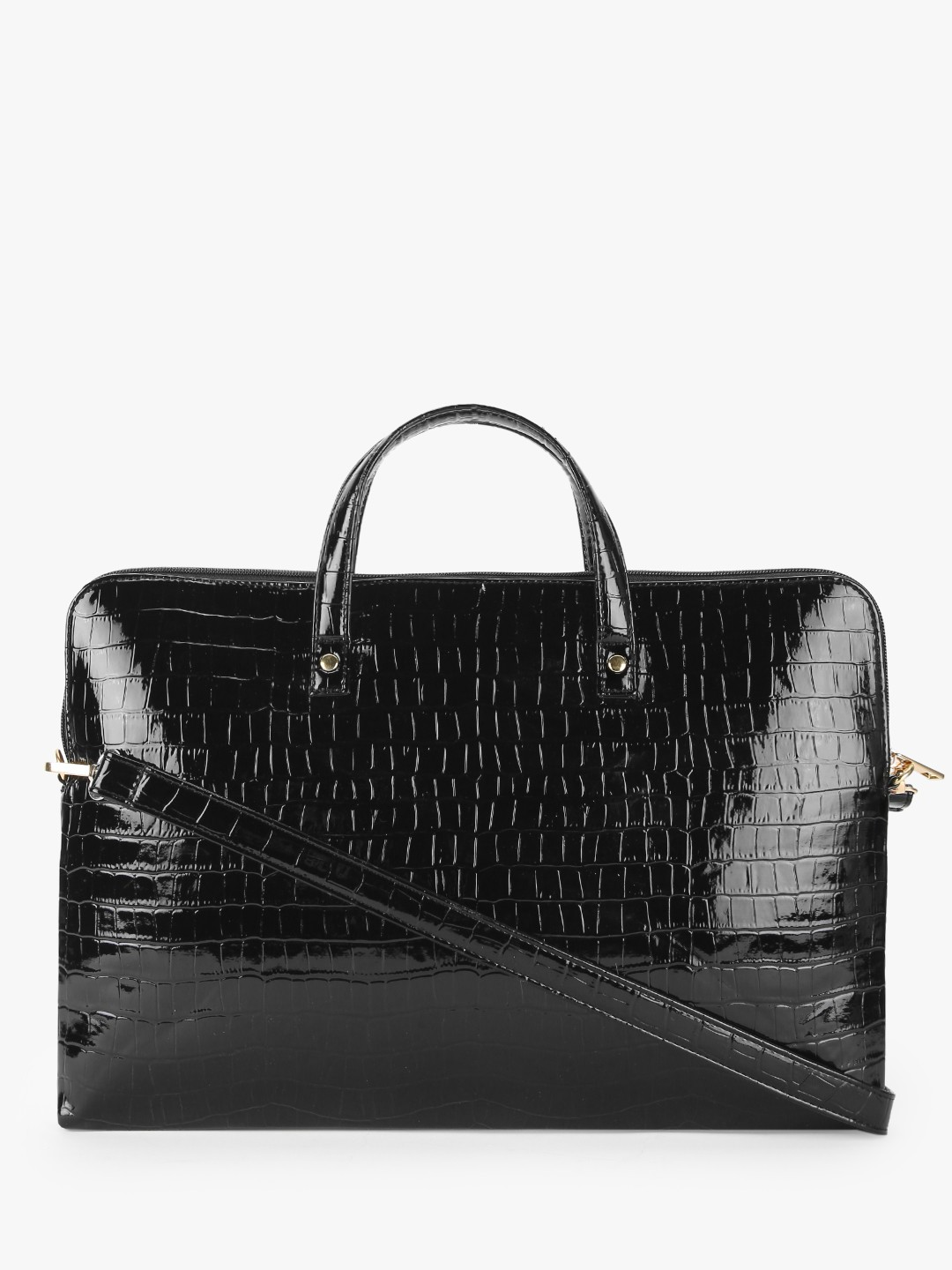 Gusto Black Patent Crocskin Slim Laptop Bag 1