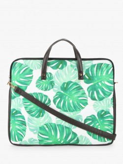 Gusto Palm Leaf Print Laptop Bag