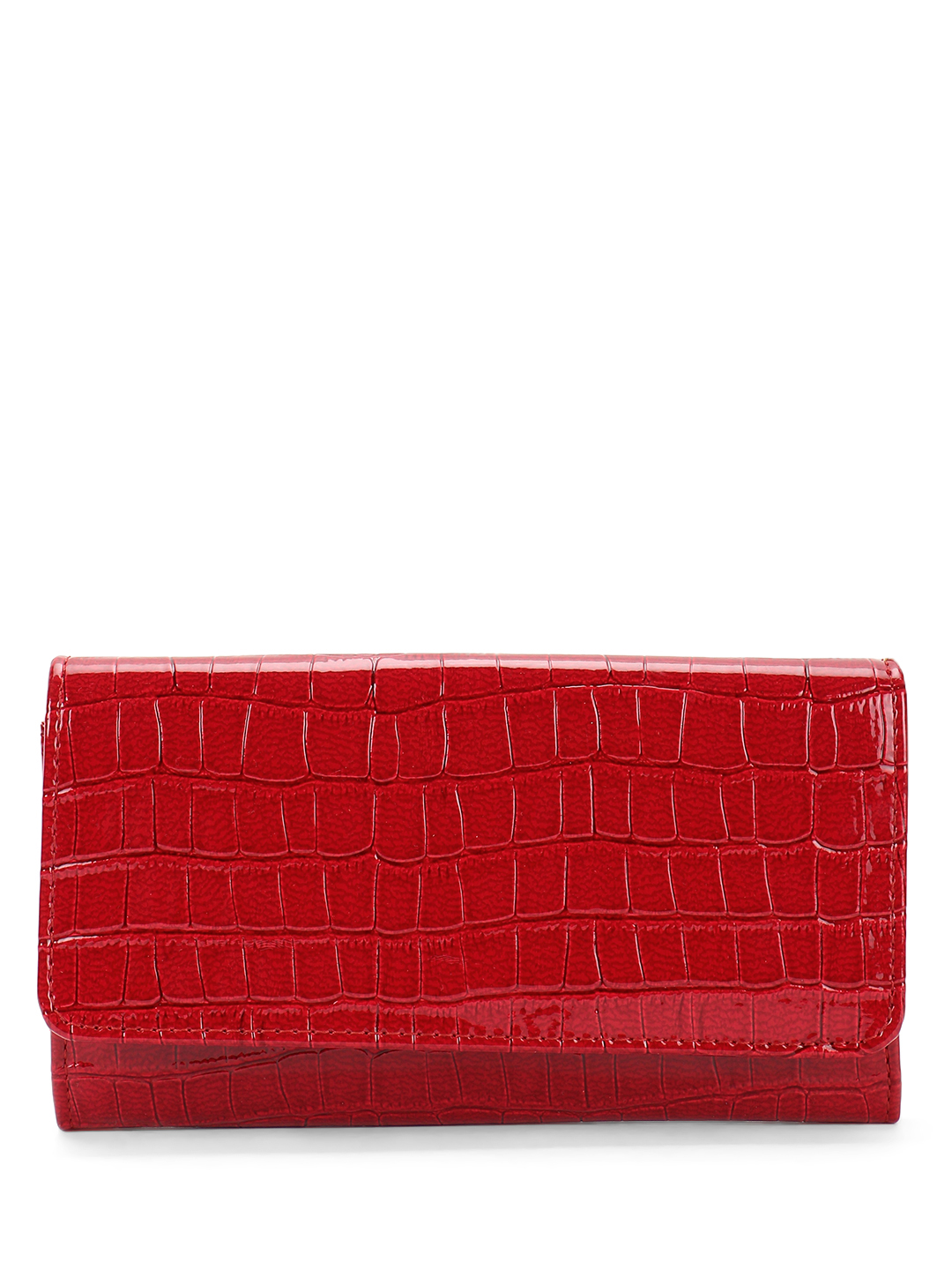 Gusto Red Patent Crocskin Texture Wallet 1