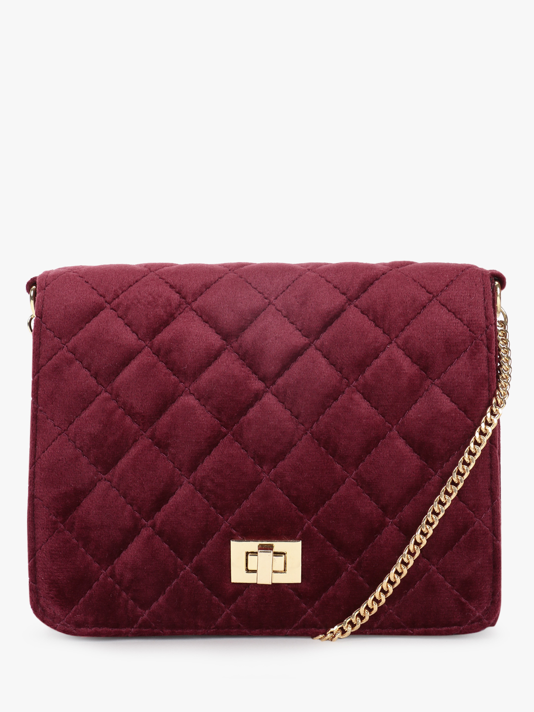 Gusto Wine Velvet Quilted Sling Bag 1