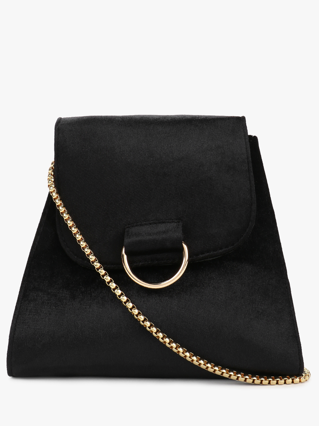 Gusto Black PARIS BELLE Velvet Buckle Detail Sling Bag 1