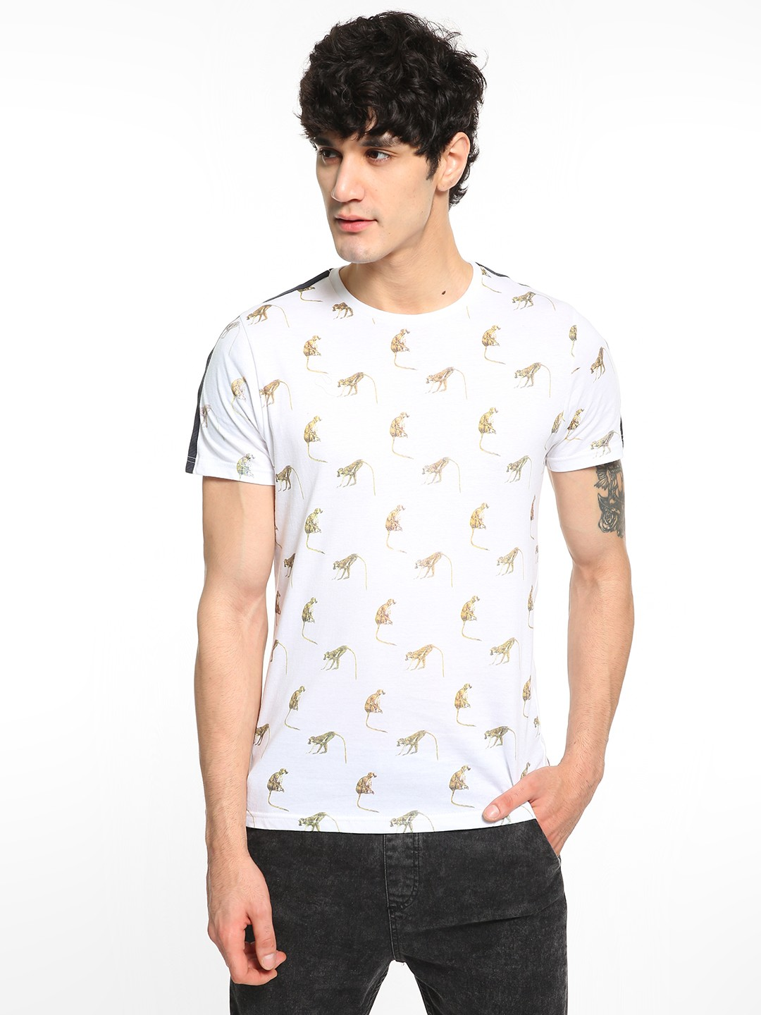 Brave Soul White Monkey Print Shoulder Tape T-Shirt 1
