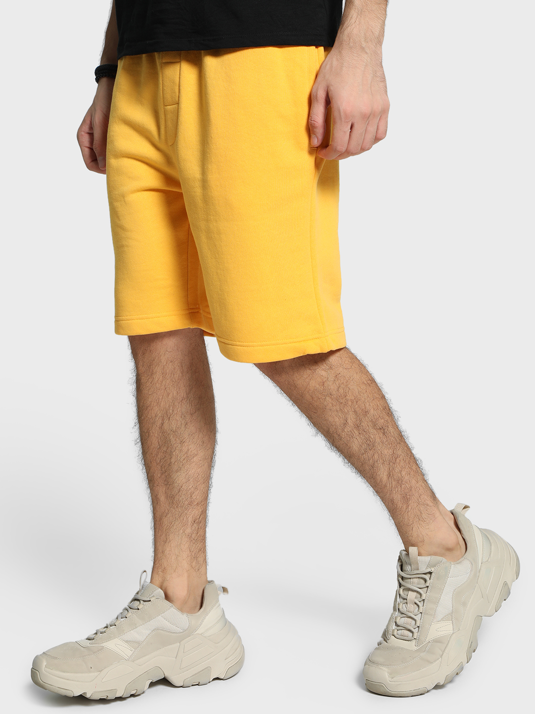 Brave Soul Yellow Fleece Knee-Length Drawcord Shorts 1