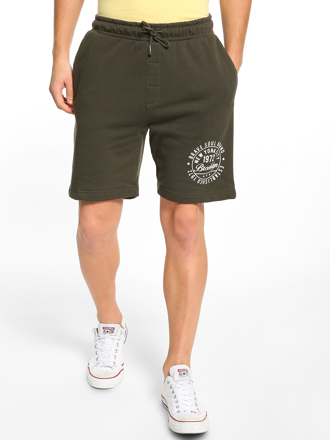 Brave Soul Brown Placement Print Drawcord Shorts 1
