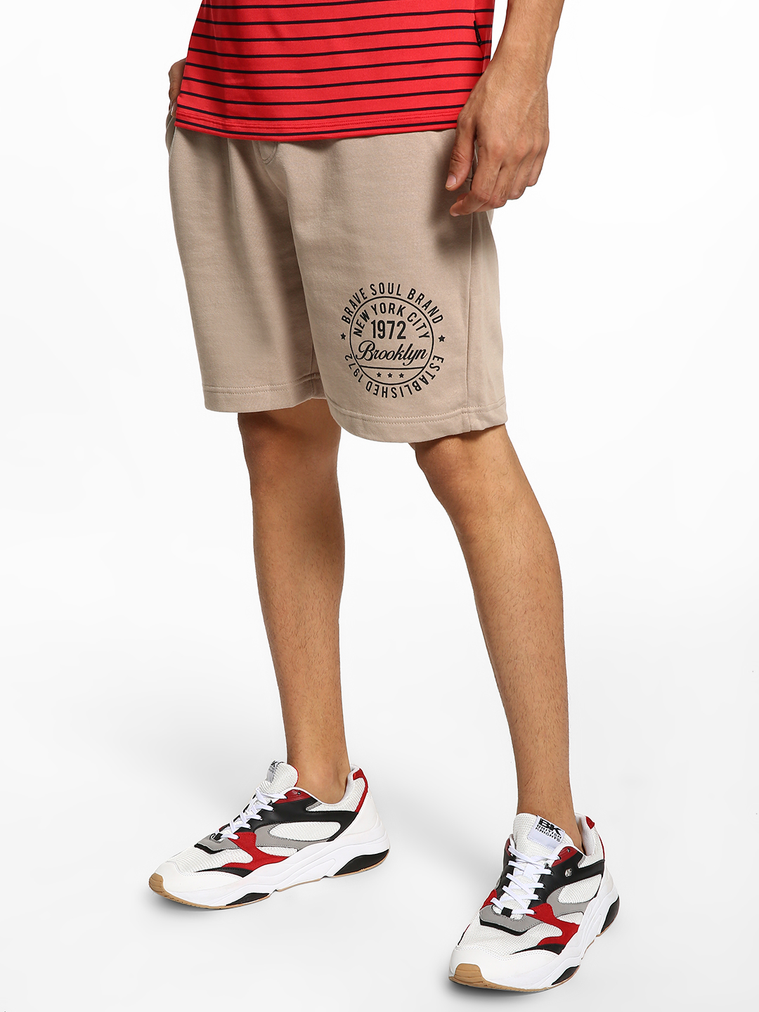 Brave Soul Grey Placement Print Drawcord Shorts 1