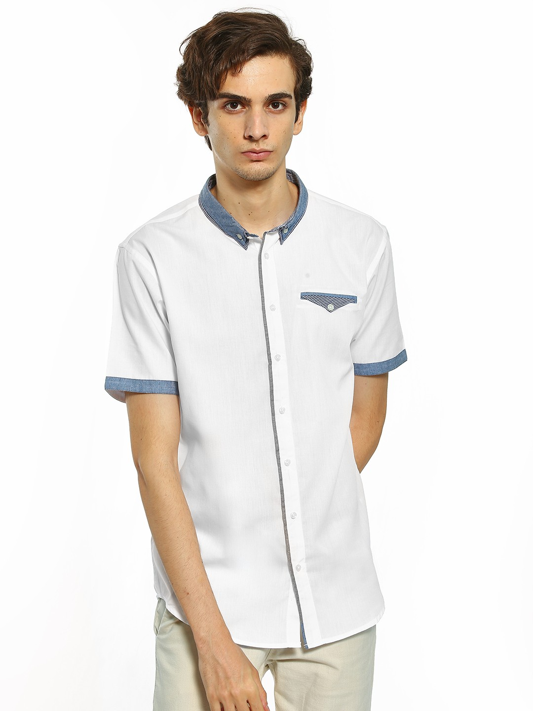 Brave Soul White Contrast Collar Casual Shirt 1