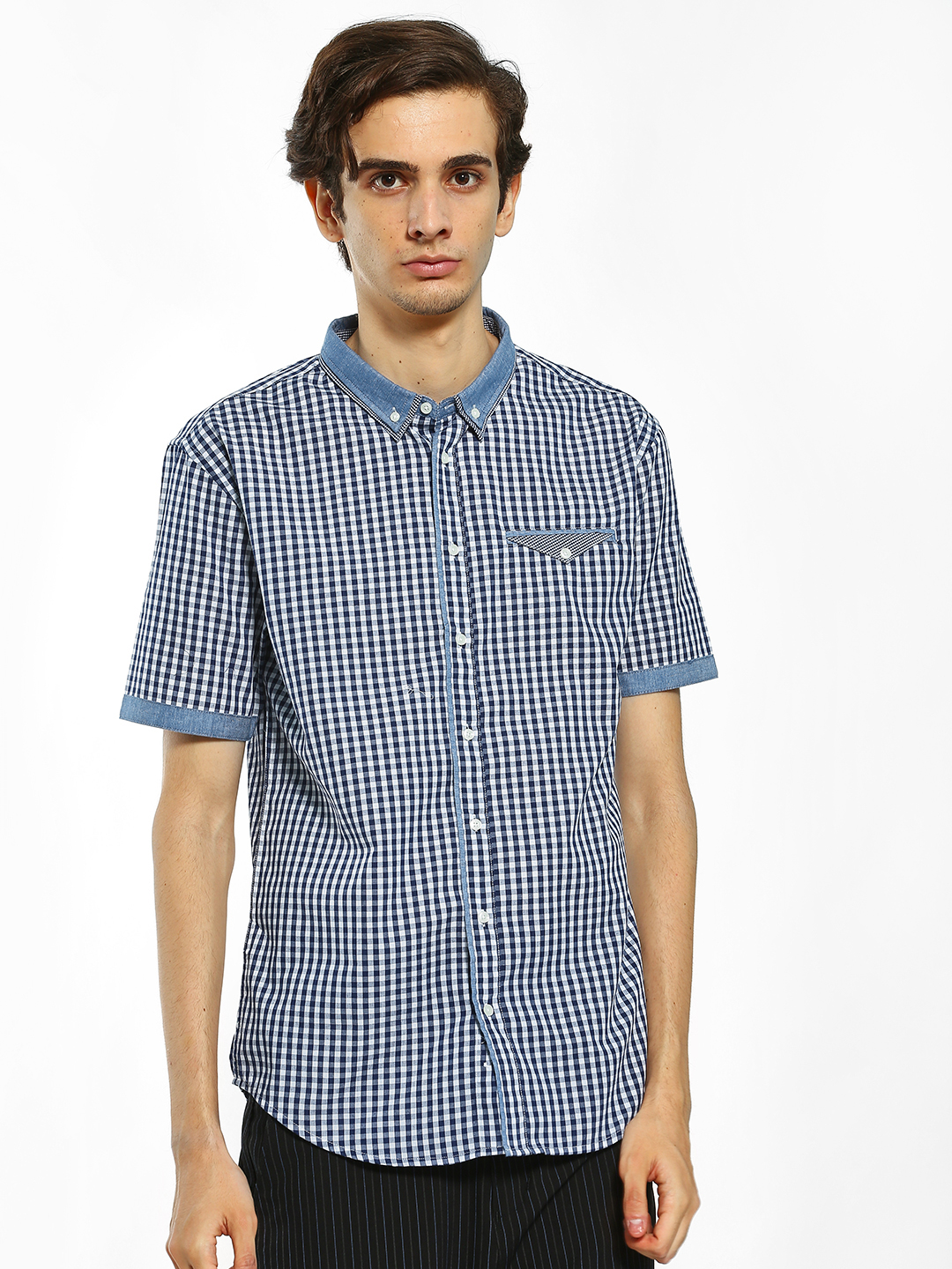 Brave Soul Blue Gingham Check Short Sleeve Shirt 1