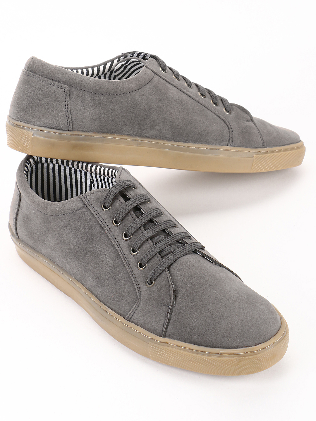 Bolt Of The Good Stuff Grey Suede Lace-Up Sneakers 1
