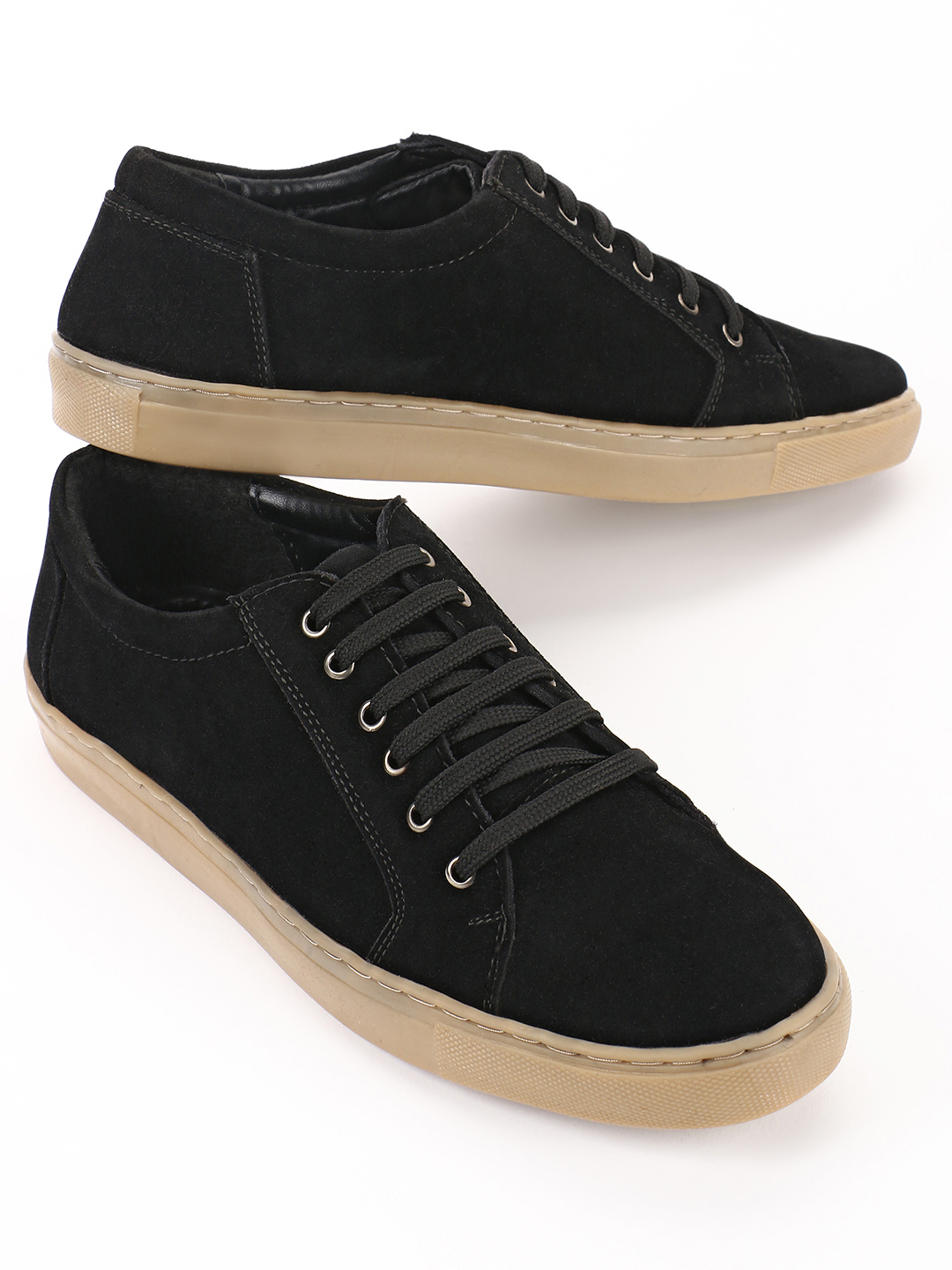Bolt Of The Good Stuff Black Suede Lace-Up Sneakers 1