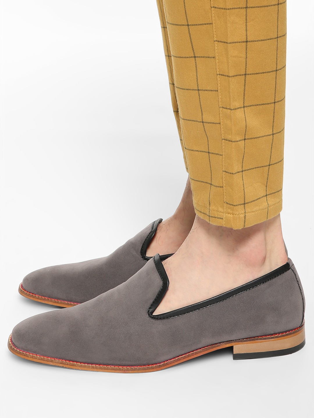 Bolt Of The Good Stuff Grey Contrast Piping Suede Loafers 1