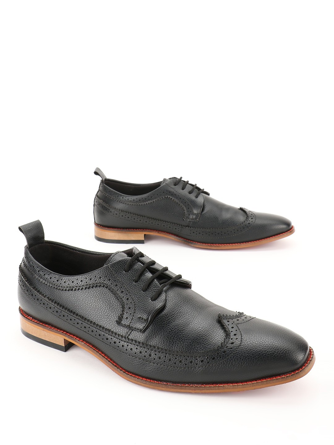 Bolt Of The Good Stuff Black Brogue Punches Derby Formal Shoes 1