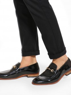 Bolt Of The Good Stuff Patent Perforated Panel Horsebit Loafers