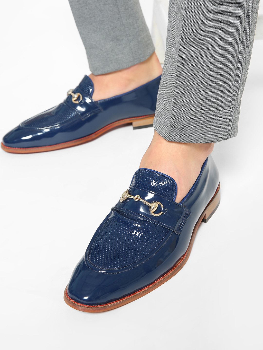 Bolt Of The Good Stuff Blue Patent Perforated Panel Horsebit Loafers 1