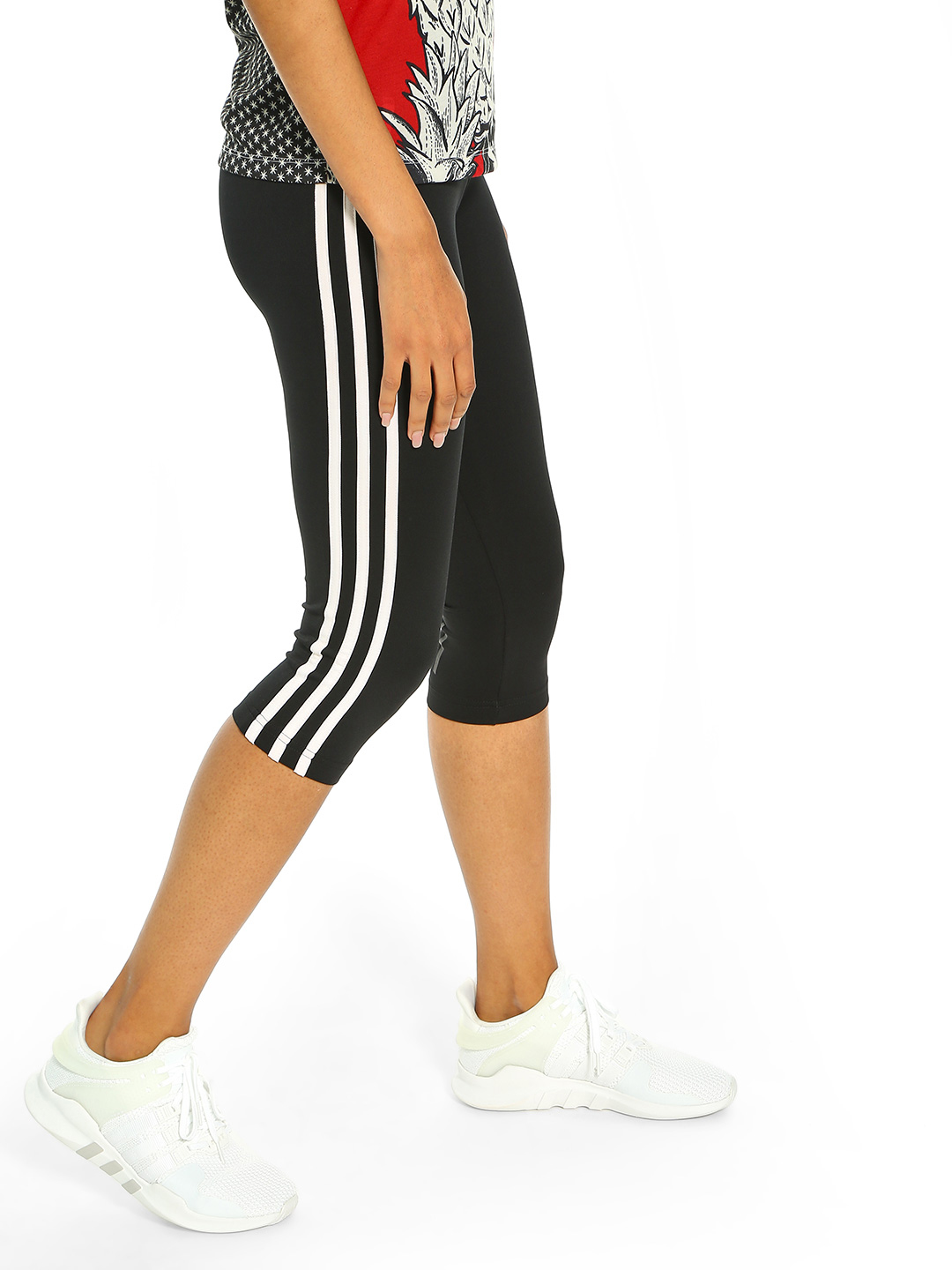 Adidas Black D2M 3-Stripe 3/4 Training Tights 1