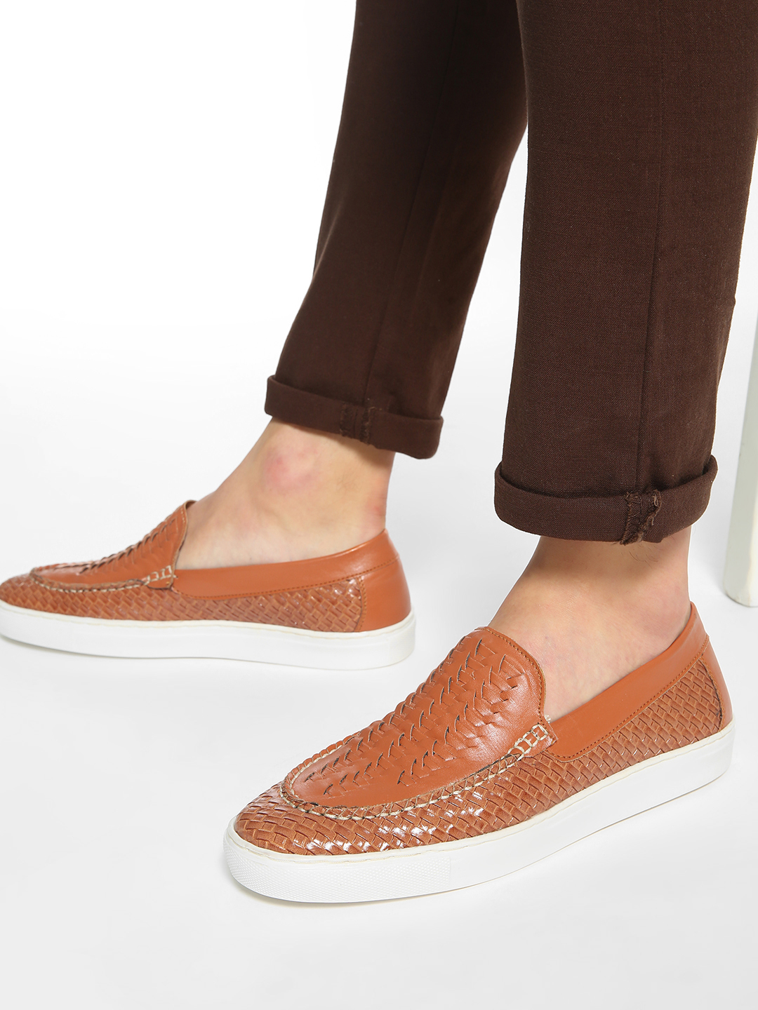 Bolt Of The Good Stuff Tan Handwoven Panelled Loafers 1