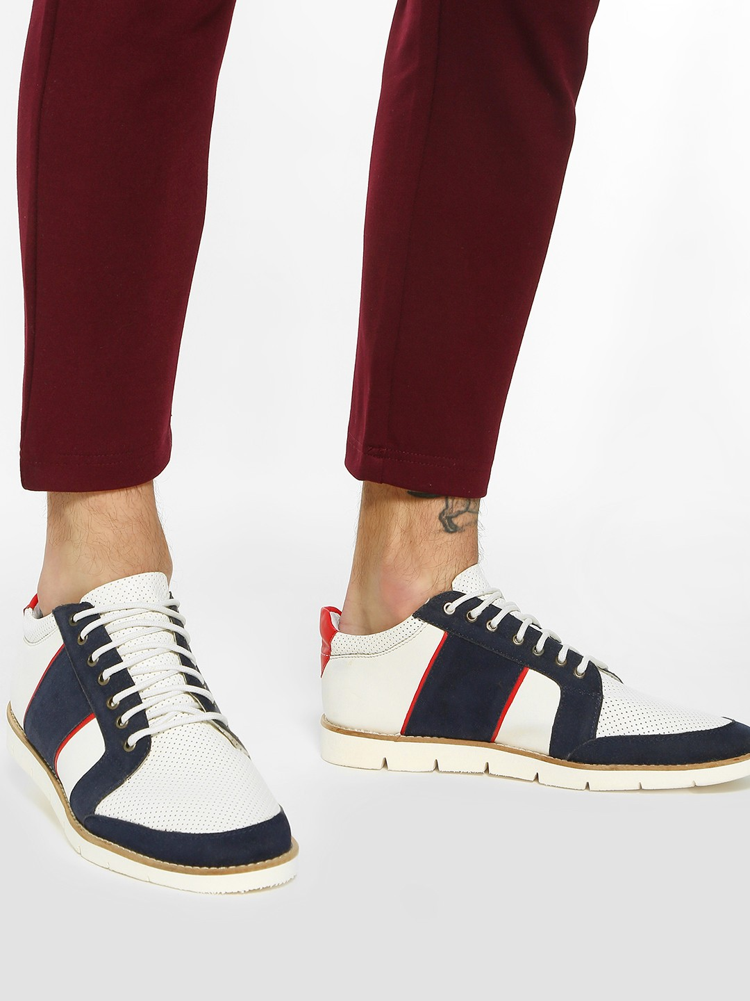 Bolt Of The Good Stuff White Colour Block Suede Panel Sneakers 1