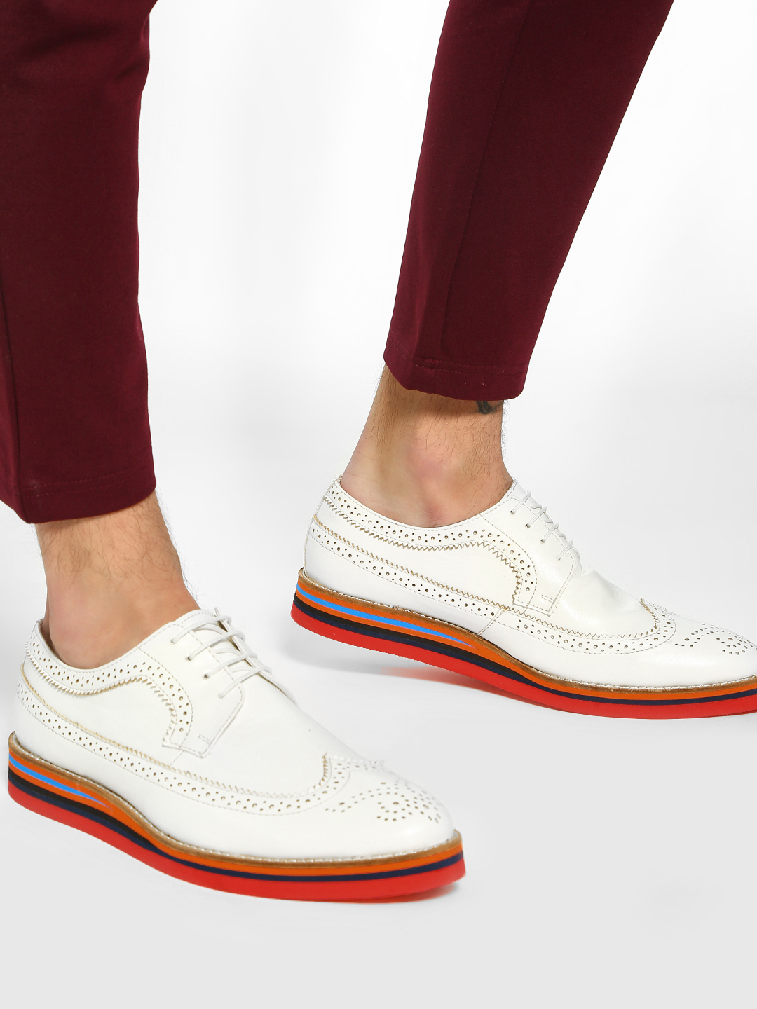 Bolt Of The Good Stuff White Contrast Sole Brogue Derby Shoes 1
