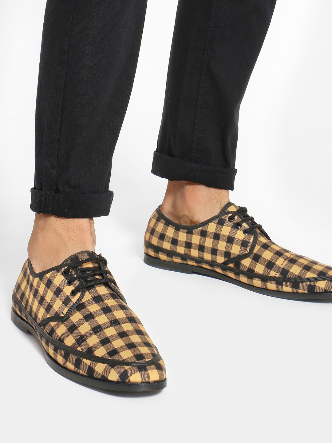 Griffin Brown Checkered Panel Formal Shoes 1