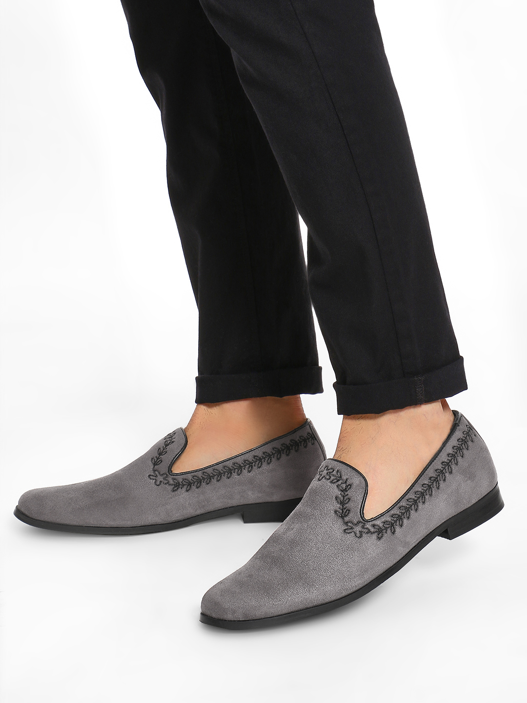 Griffin Grey Leaf Embroidered Suede Loafers 1