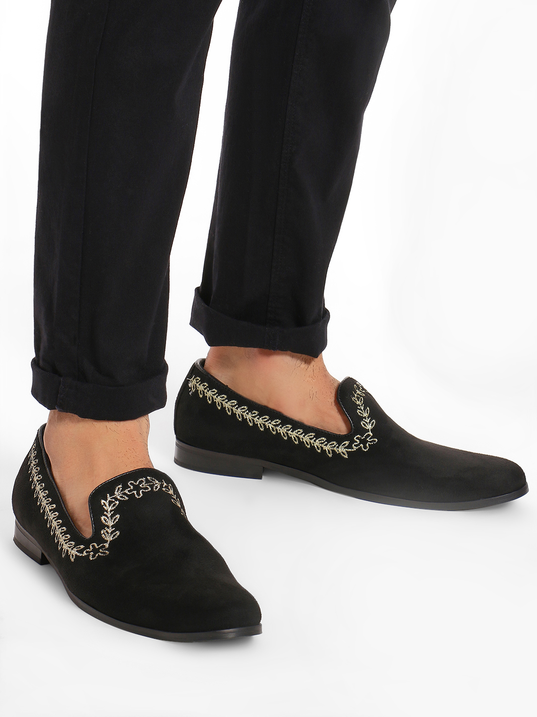 Griffin Black Leaf Embroidered Suede Loafers 1