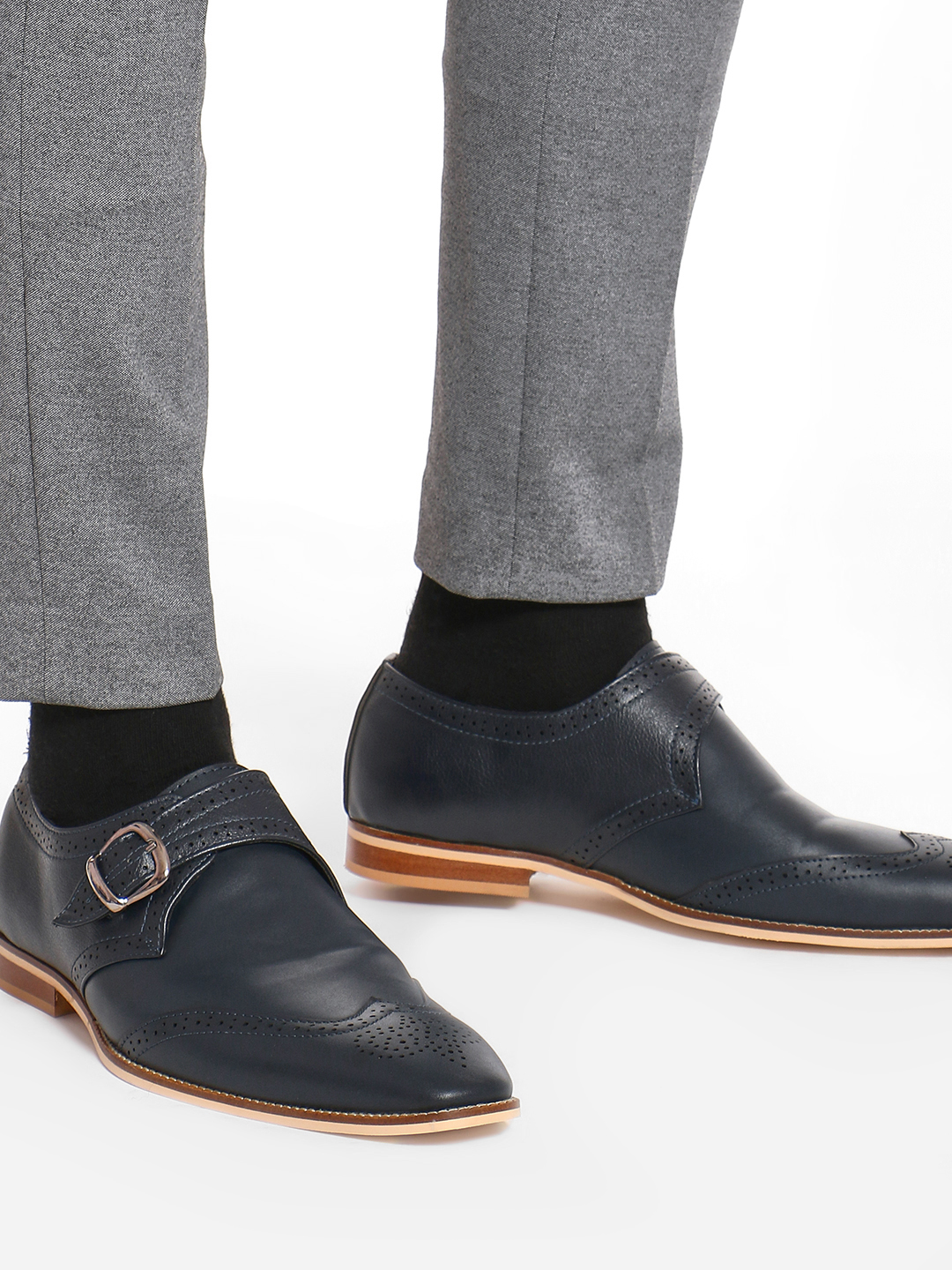 Griffin Blue Brogue Punches Monk Shoes 1