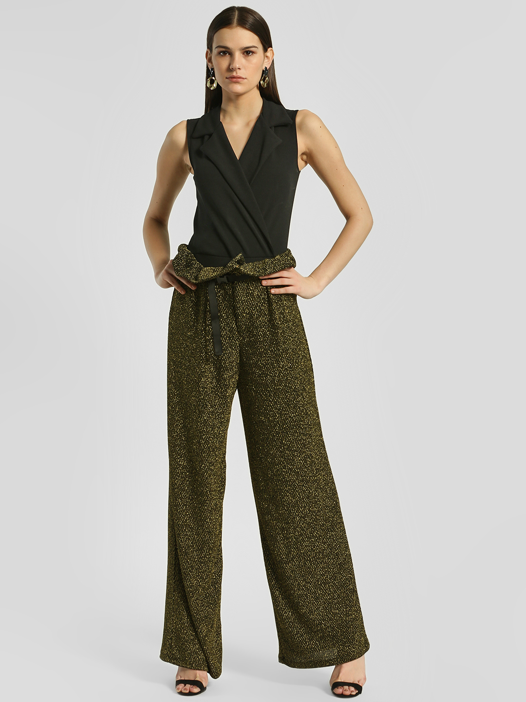Shivan & Narresh X KOOVS Black Shimmer Detail Paperbag Palazzo Pants 1