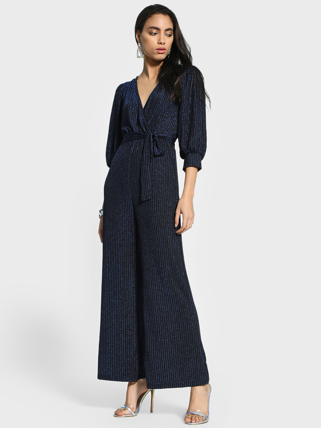 KOOVS Blue V-Neck Shimmer Detail Jumpsuit 1