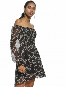 KOOVS Floral Print Off-Shoulder Skater Dress