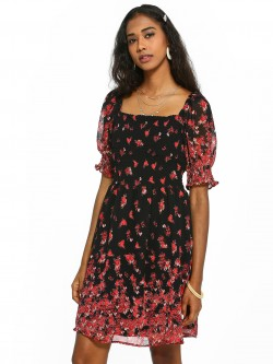 KOOVS Floral Print Smocked Skater Dress