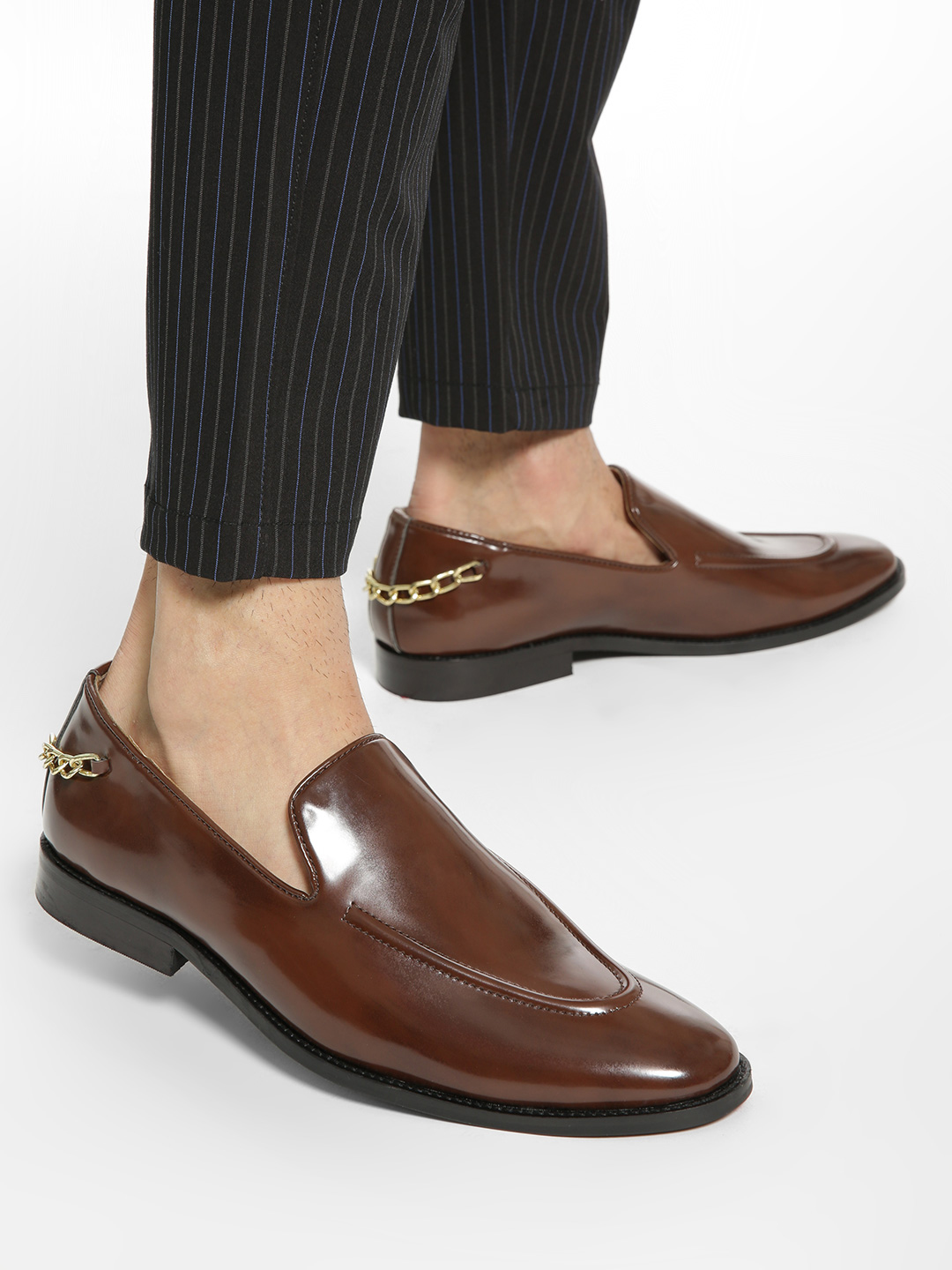 Griffin Brown Chain Detail Slip-On Shoes 1