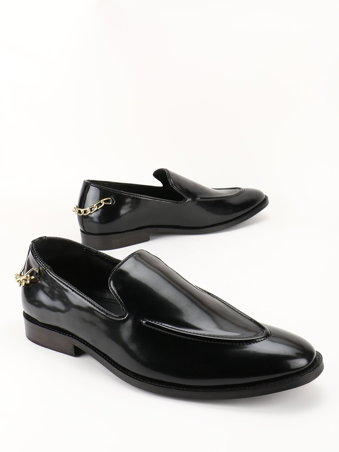 Griffin Black Chain Detail Slip-On Shoes 1