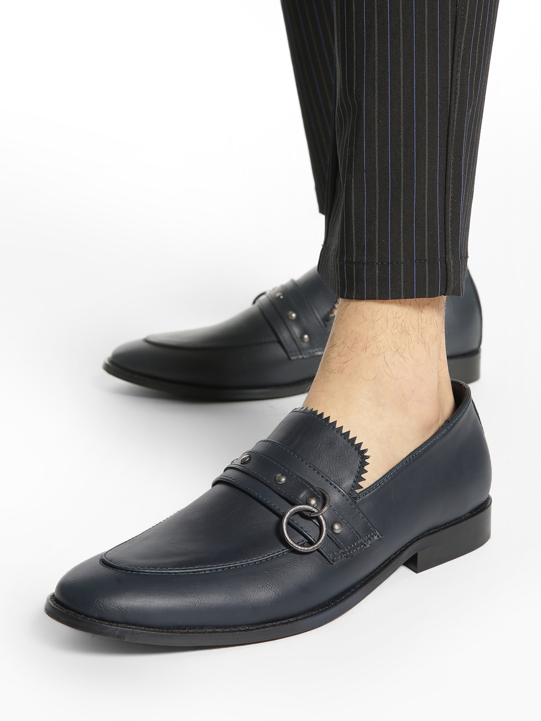 Griffin Blue Ring Detail Fringed Loafers 1