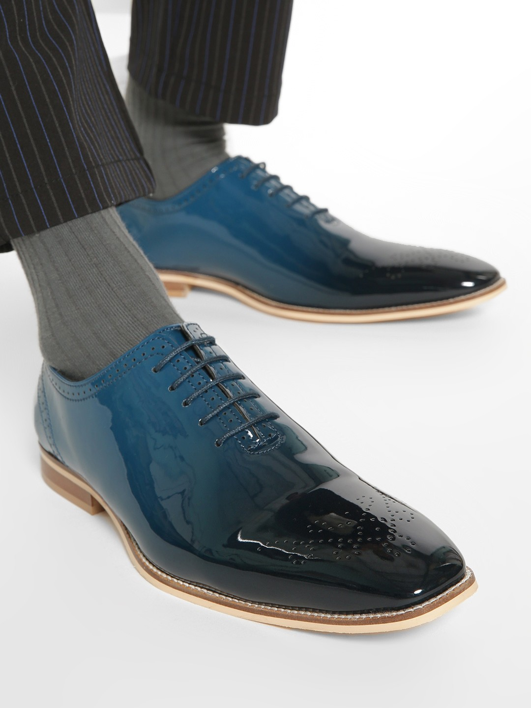 Griffin Blue Metallic Patent Brogue Shoes 1