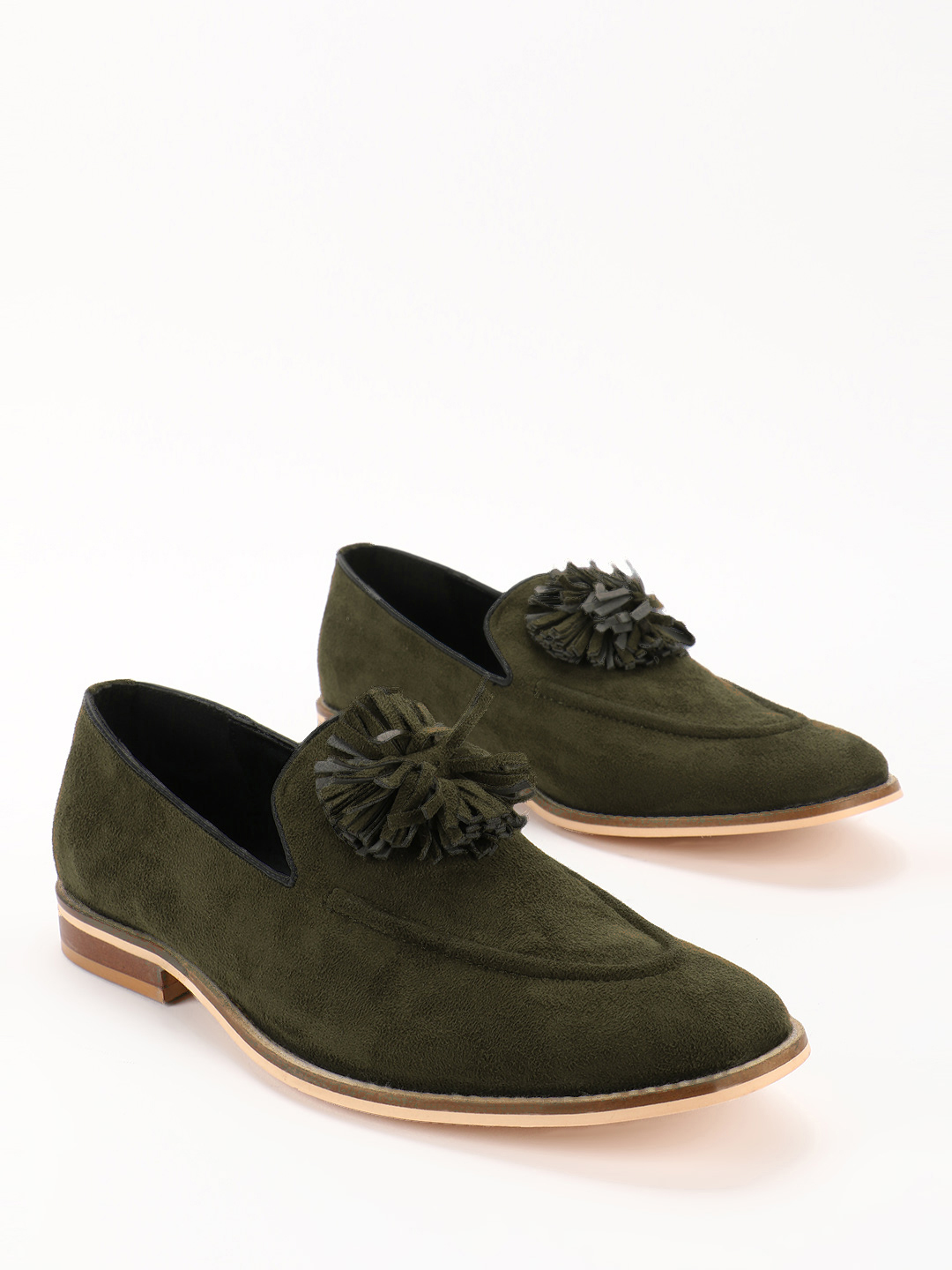 Griffin Green Fringed Flower Suede Loafers 1