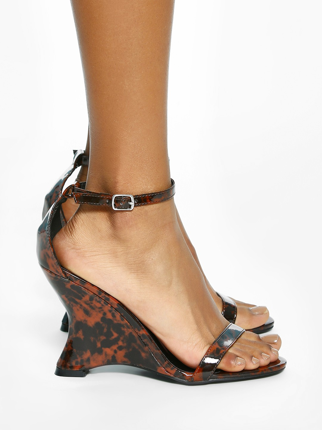 Intoto Brown Marble Effect Curved Sole Wedges 1