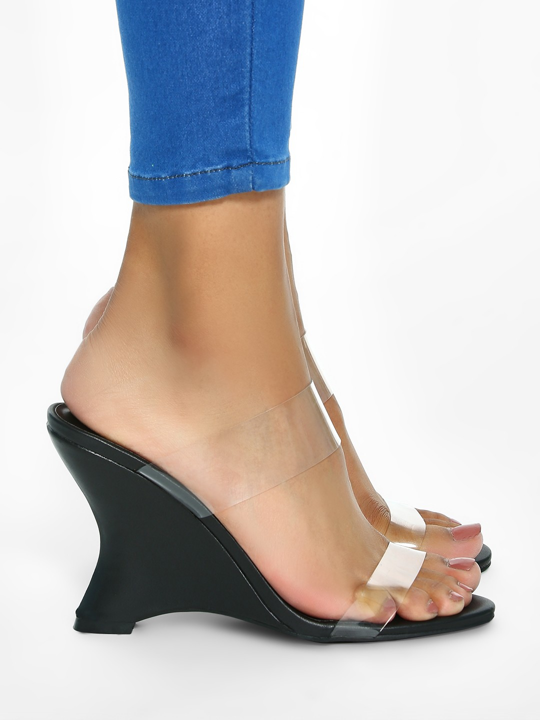 Intoto Black Clear Strap Curved Sole Wedges 1