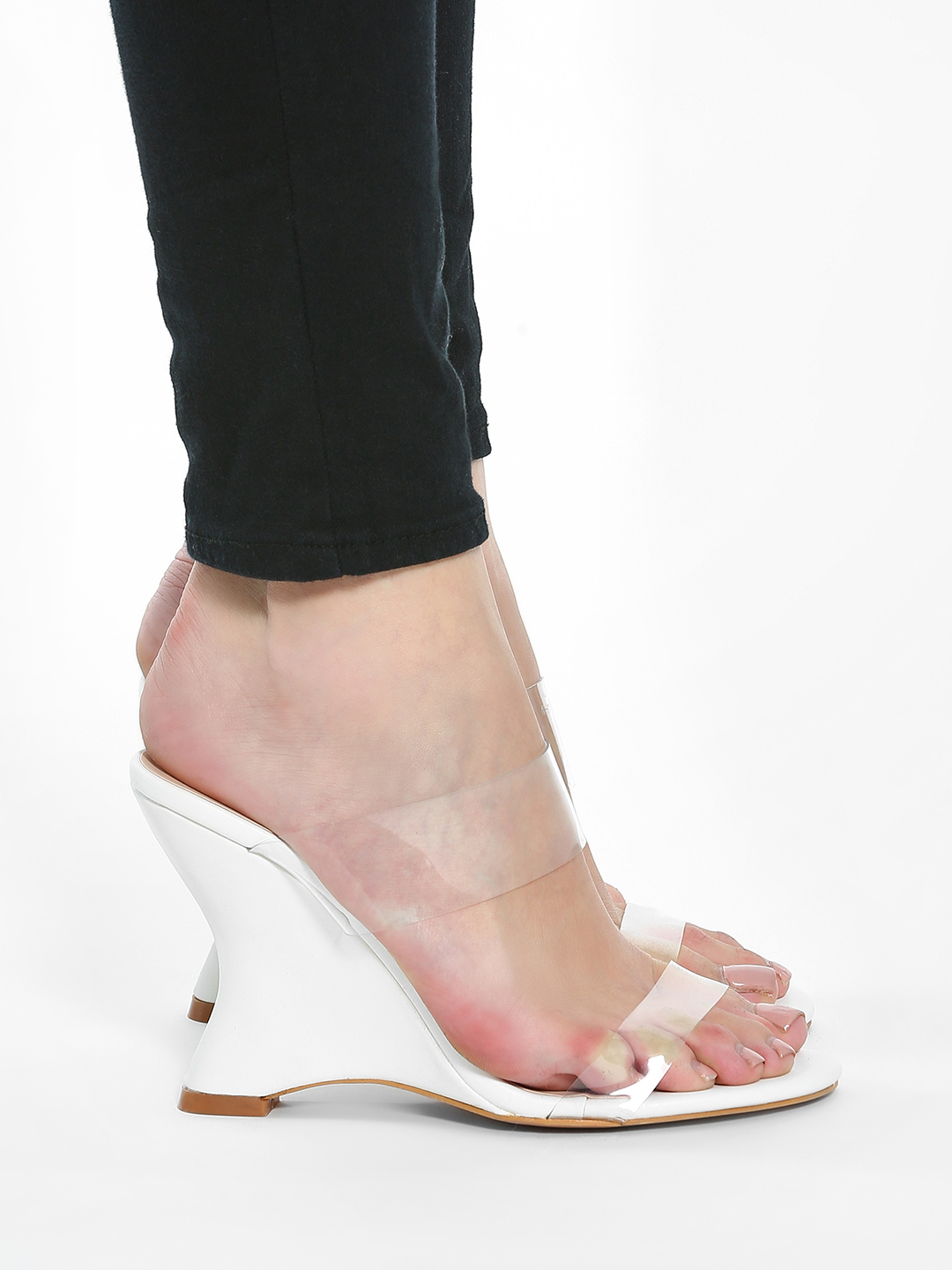Intoto White Clear Strap Curved Sole Wedges 1