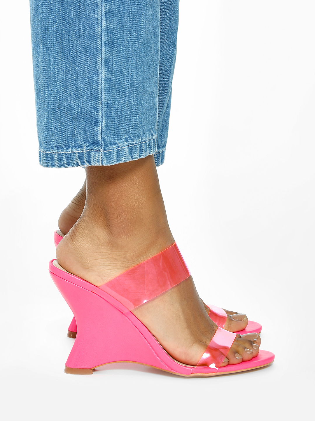 Intoto Pink Clear Strap Curved Sole Wedges 1