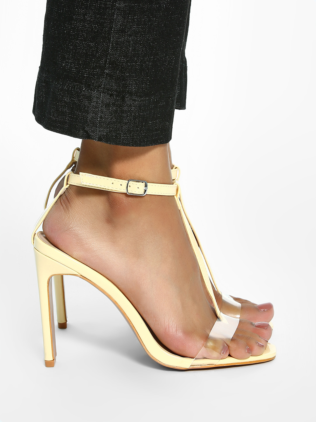 Intoto Yellow Patent Clear T-Strap Heeled Sandals 1