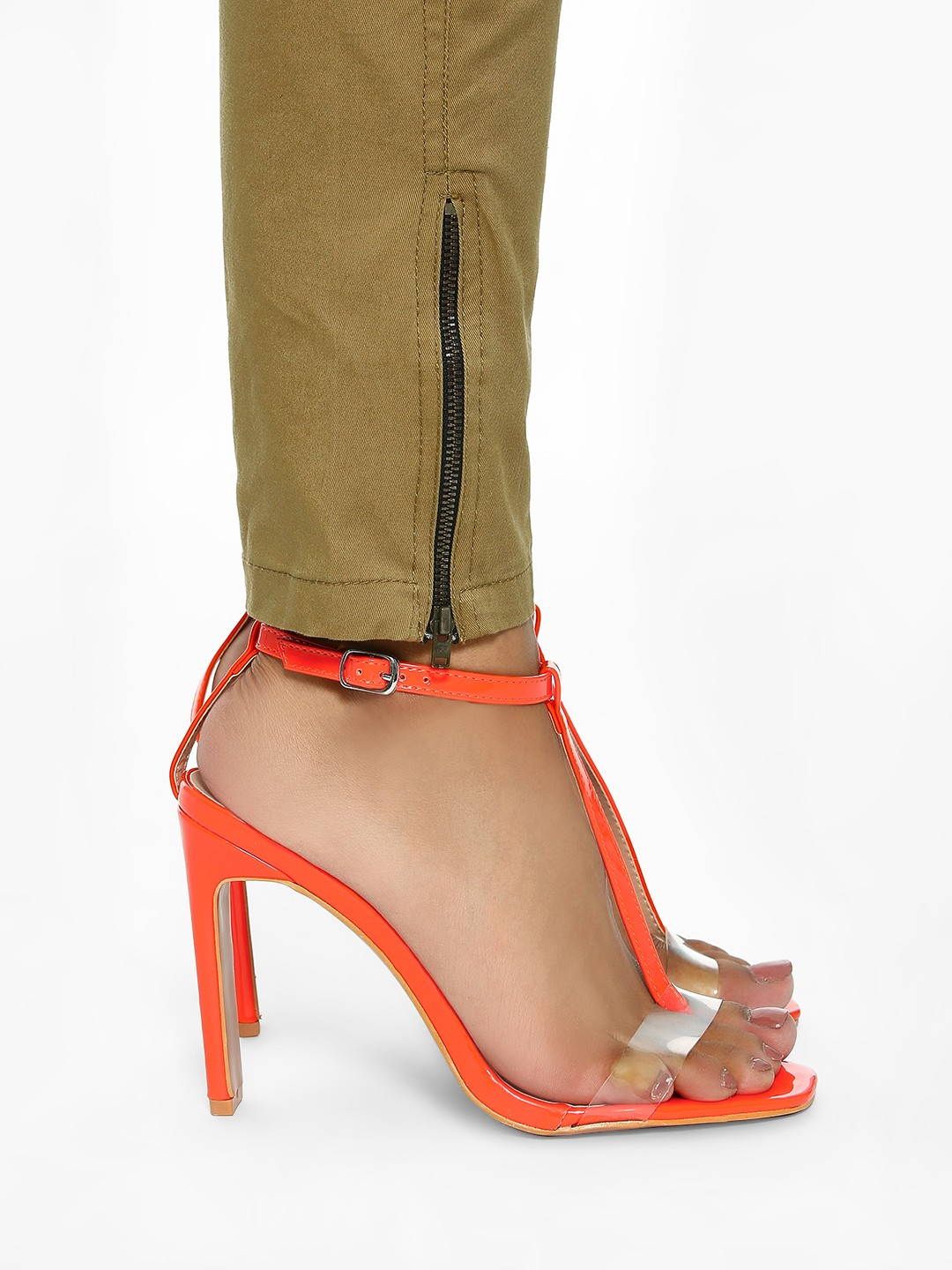 Intoto Orange Patent Clear T-Strap Heeled Sandals 1