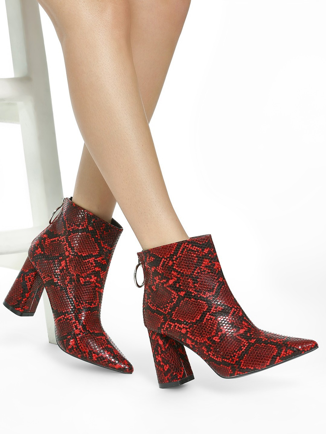 Intoto Red Snake Print Ankle Heeled Boots 1