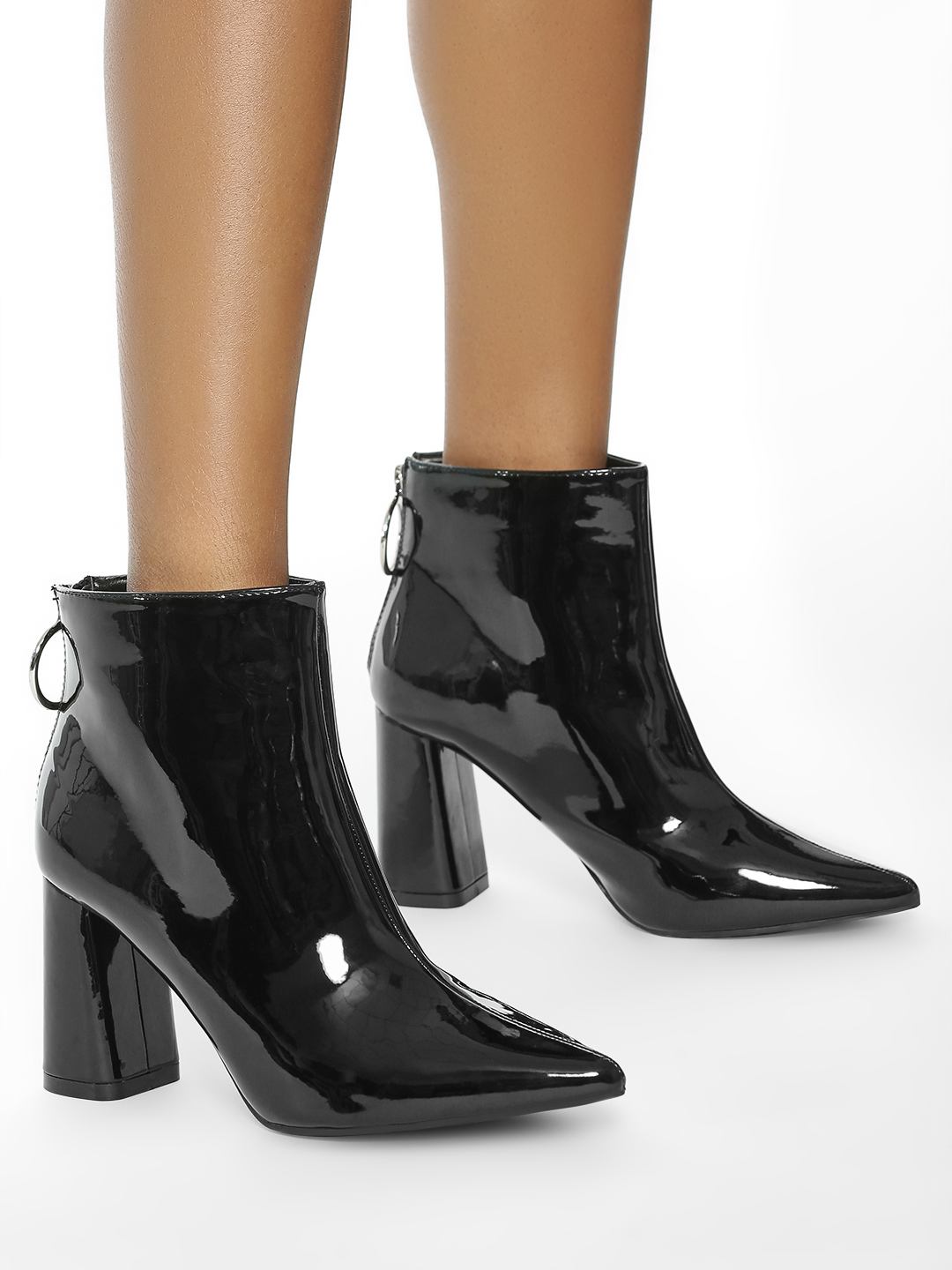Intoto Black Patent O-Ring Ankle Boots 1