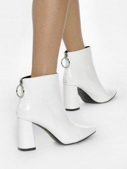 Intoto Crocskin Zip-Up Ankle Heeled Boots