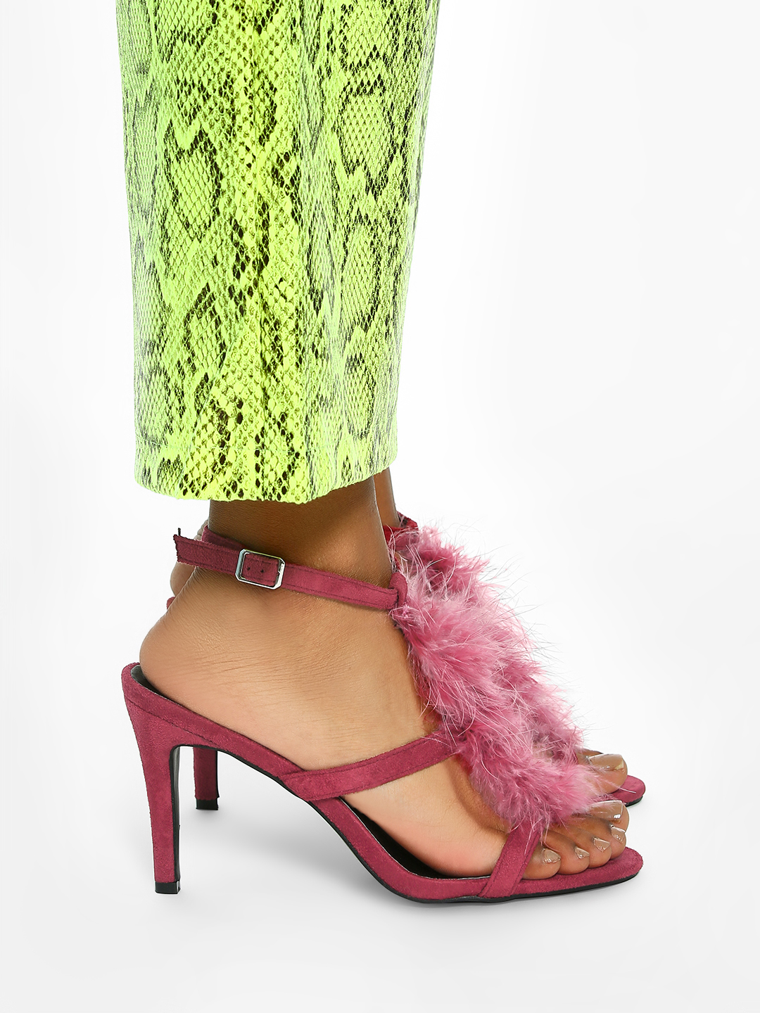Intoto Maroon Suede Furry Heeled Sandals 1